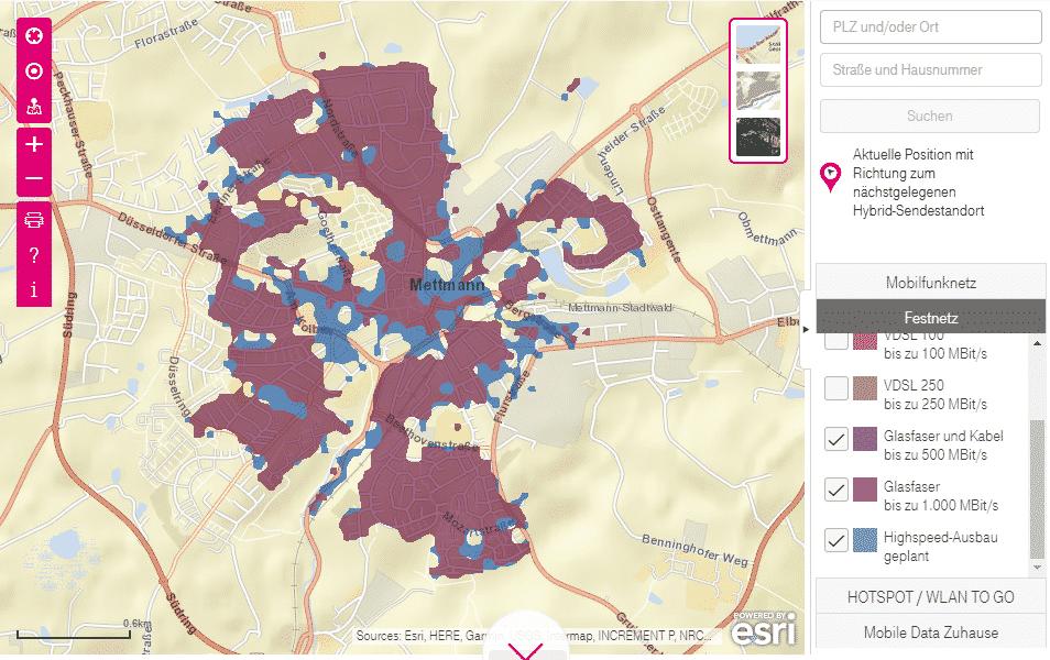 Karte mit Glasfaser-Ausbau für Mettmann