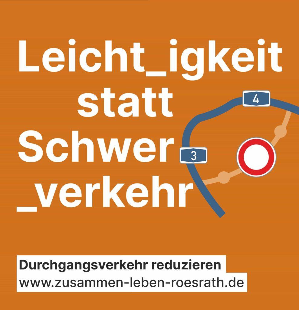 """Plakat """"Leichtigkeit statt Schwerverkehr"""" für Kommunalwahl 2020"""