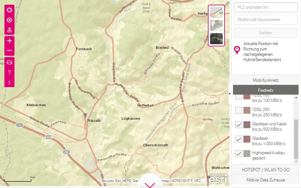 Karte mit Glasfaser-Planung für Rösrath