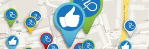 Karte mit symbolischen Pins der RADar App